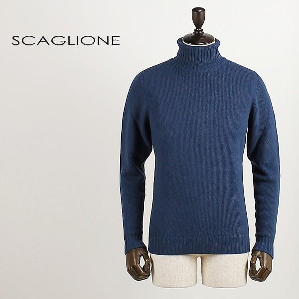 SCAGLIONE スカリオーネ メンズ ウールカシミア タートルネックニット U3B043 2768 (ネイビー)special priceBM|laglagmarket