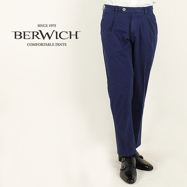 BERWICH ベルウィッチ メンズ ワンタック 9分丈 コットンパンツ SAKE 1P-TS001X (ネイビー)レビューを書いて送料無料|laglagmarket