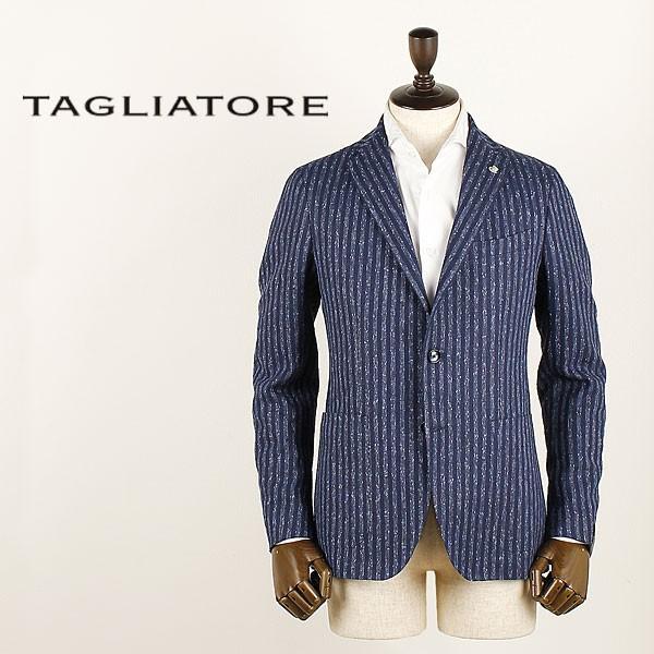 セール 国内正規品 TAGLIATORE タリアトーレ メンズ  リネン ネップ混 ストライプ シングルジャケット 1SMC22K 85REG018 (ネイビー)special priceAM|laglagmarket