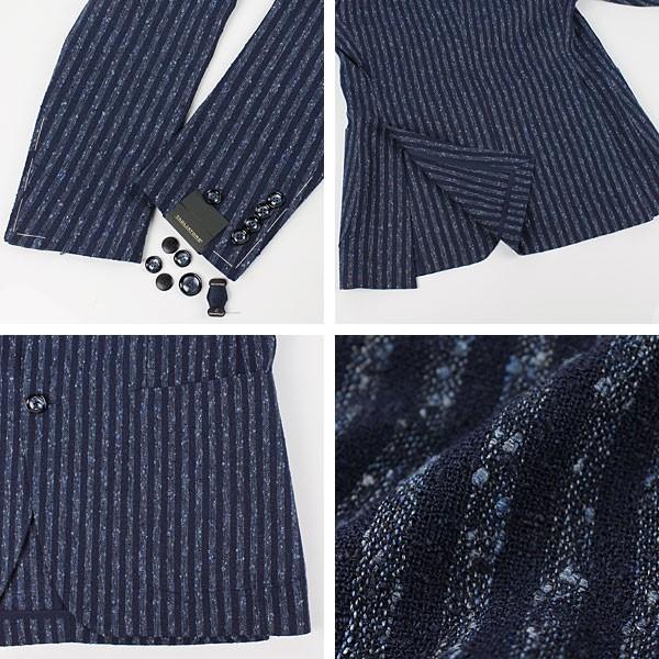 セール 国内正規品 TAGLIATORE タリアトーレ メンズ  リネン ネップ混 ストライプ シングルジャケット 1SMC22K 85REG018 (ネイビー)special priceAM|laglagmarket|05