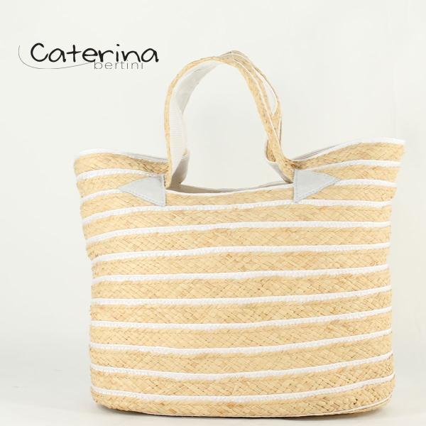 国内正規品 即日発送 Caterina Bertini カテリーナ・ベルティーニ ストローカゴバッグ Art.2768 Nat/White01(ホワイト)