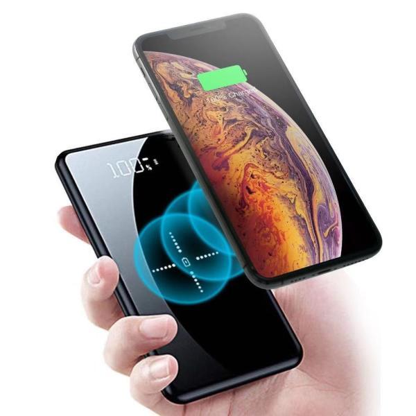 モバイルバッテリー ワイヤレス充電 大容量 12000mAh Qi iPhone 急速充電 充電器 ワイヤレス充電器 軽量 実効容量 急速 バッテリー おしゃれ ガラス画面|lakko