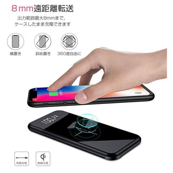 モバイルバッテリー ワイヤレス充電 大容量 12000mAh Qi iPhone 急速充電 充電器 ワイヤレス充電器 軽量 実効容量 急速 バッテリー おしゃれ ガラス画面|lakko|02