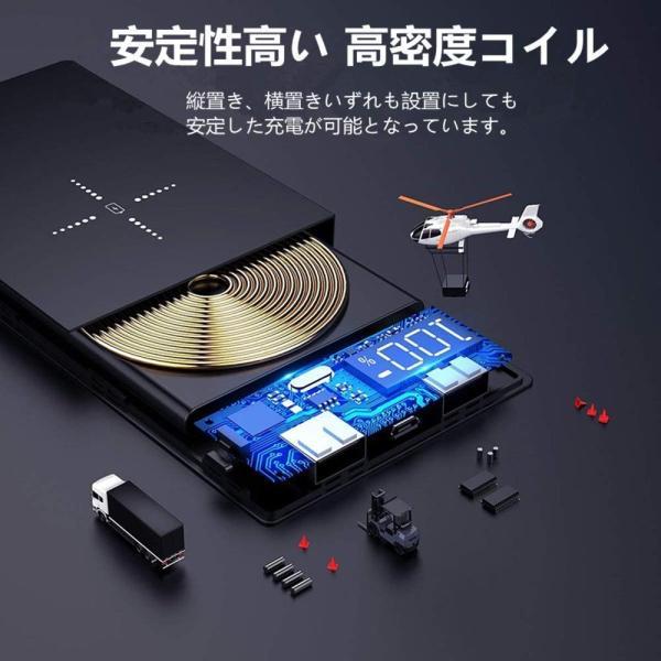 モバイルバッテリー ワイヤレス充電 大容量 12000mAh Qi iPhone 急速充電 充電器 ワイヤレス充電器 軽量 実効容量 急速 バッテリー おしゃれ ガラス画面|lakko|08