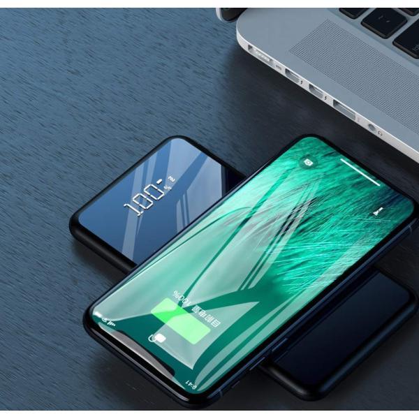 モバイルバッテリー ワイヤレス充電 大容量 12000mAh Qi iPhone 急速充電 充電器 ワイヤレス充電器 軽量 実効容量 急速 バッテリー おしゃれ ガラス画面|lakko|09