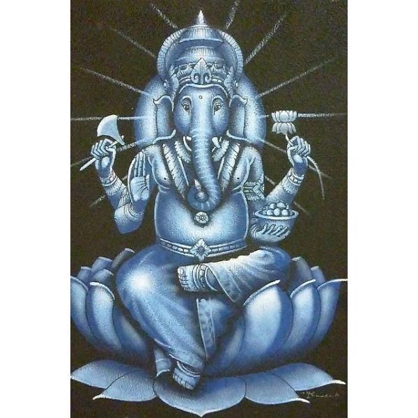 10%OFF ガネーシャ絵画 ブルー 50cm×40cm 商売繁盛 学問の神様 現品限り 神様飾り アジアン壁飾り|lakshmi2011|02