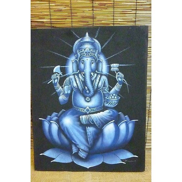10%OFF ガネーシャ絵画 ブルー 50cm×40cm 商売繁盛 学問の神様 現品限り 神様飾り アジアン壁飾り|lakshmi2011|03