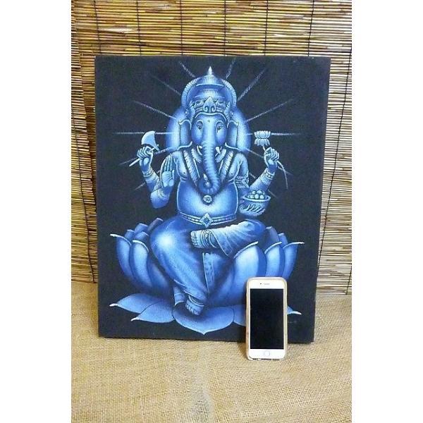 10%OFF ガネーシャ絵画 ブルー 50cm×40cm 商売繁盛 学問の神様 現品限り 神様飾り アジアン壁飾り|lakshmi2011|10