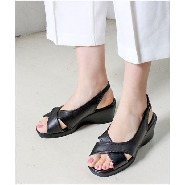 【即納】4タイプ ナース オフィスサンダル ナースサンダル 【ALETTA】 ウェッジソール 6cmヒール スーツ 職場 外反 甲高 幅広 痛くなりにくい 立ち仕事 靴|laluna-shoes|11