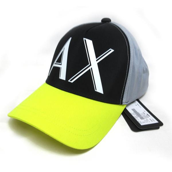 新品未使用アルマーニエクスチェンジベースボールキャップ帽子男女OKブラックグレーイエローキャンバスA/XArmaniExchan