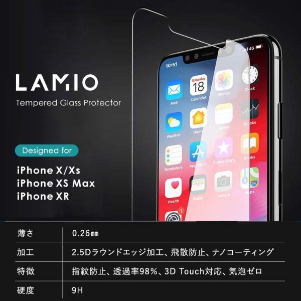 【2枚セット】iPhone 保護フィルム ガラスフィルム iPhoneXR iPhoneXS Max iPhoneX iPhoneXS 硬度9H 強化ガラス 液晶保護 lamio 14