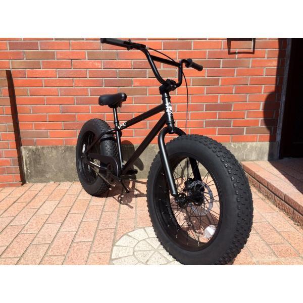 ファットバイク 20インチ 極太タイヤ おしゃれ 自転車 通勤 通学 ブロンクスファットバイク 20BRONX マットブラック×ブラックリム|lanai-makai|02
