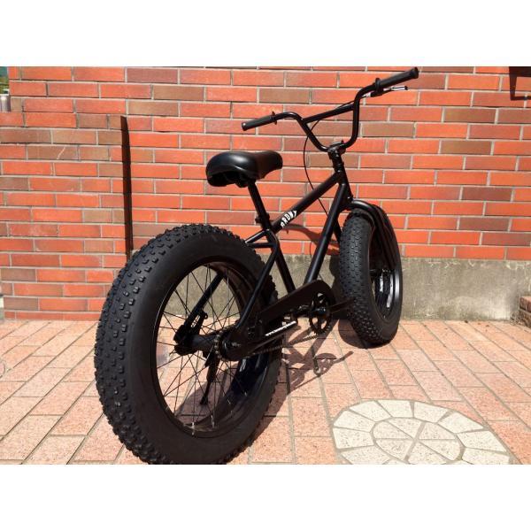 ファットバイク 20インチ 極太タイヤ おしゃれ 自転車 通勤 通学 ブロンクスファットバイク 20BRONX マットブラック×ブラックリム|lanai-makai|08