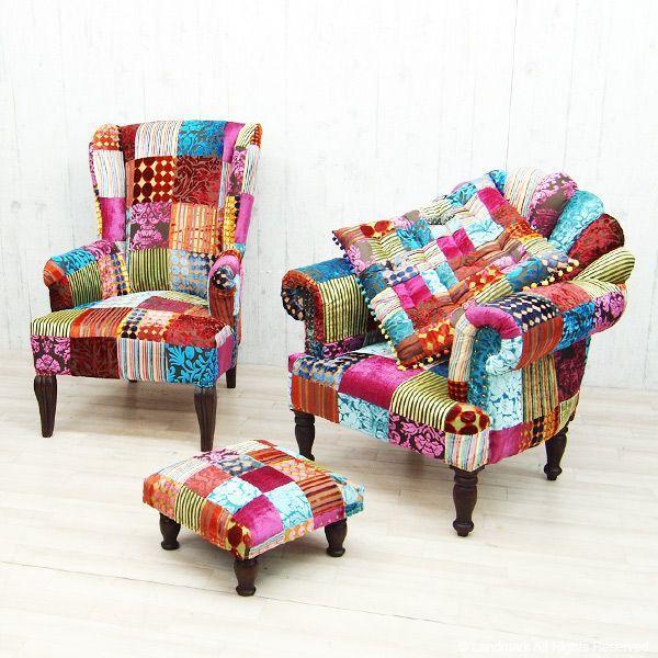 1人掛け ソファー おしゃれ 肘付き  1P 椅子 パーソナルチェアー パッチワーク 北欧 カフェ ON&ON DLD801ML|landmark|02