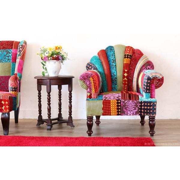 1人掛け ソファー おしゃれ 肘付き  1P 椅子 パーソナルチェアー パッチワーク 北欧 カフェ ON&ON DLD801ML|landmark|03