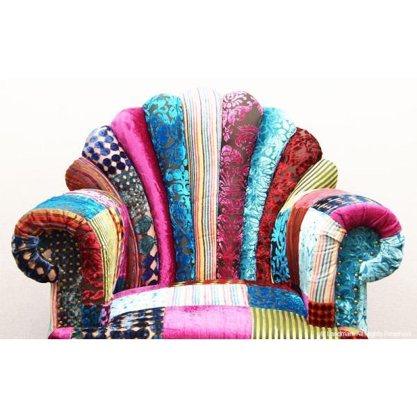 1人掛け ソファー おしゃれ 肘付き  1P 椅子 パーソナルチェアー パッチワーク 北欧 カフェ ON&ON DLD801ML|landmark|04