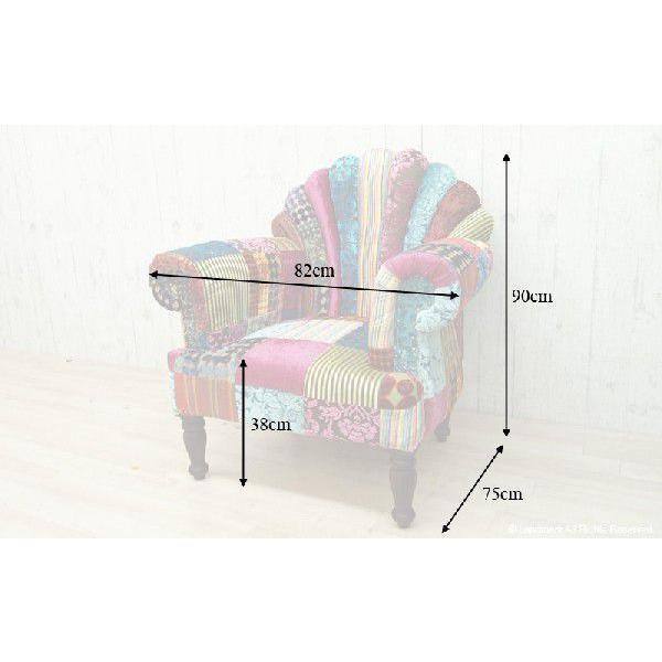 1人掛け ソファー おしゃれ 肘付き  1P 椅子 パーソナルチェアー パッチワーク 北欧 カフェ ON&ON DLD801ML|landmark|06