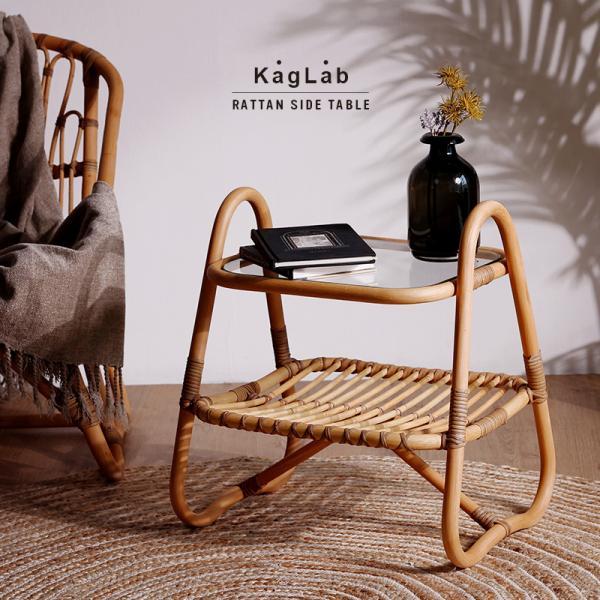 サイドテーブル おしゃれ ガラス ラタン 北欧 アジアン 家具 軽い T115ME