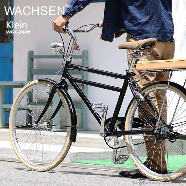 シティサイクル 24インチ 自転車 クロモリ  おしゃれ WACHSEN ヴァクセン シティバイク 木カゴ|lanran|03