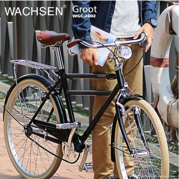 シティサイクル 26インチ 自転車 クロモリ おしゃれ WACHSEN ヴァクセン  シティバイク 木カゴ|lanran|04