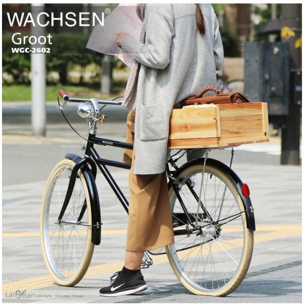 シティサイクル 26インチ 自転車 クロモリ おしゃれ WACHSEN ヴァクセン  シティバイク 木カゴ|lanran|05