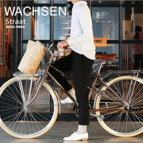 シティサイクル 26インチ 自転車 おしゃれ シティバイク 前後キャリア WACHSEN ヴァクセン|lanran