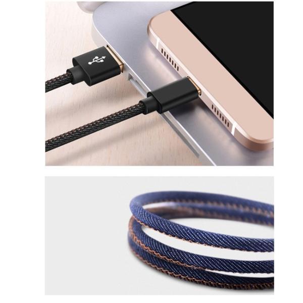 充電器 ケーブル 急速充電 ポイント消化 iPhone Type-C MicroUSB Android 丈夫 保護 デニム かっこいい 1.2m 1.8m|lanui|12