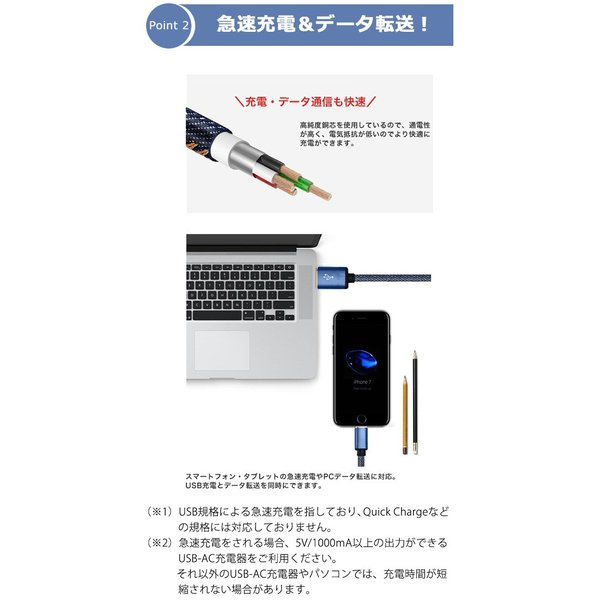充電器 ケーブル 急速充電 ポイント消化 iPhone Type-C MicroUSB Android 丈夫 保護 デニム かっこいい 1.2m 1.8m|lanui|05