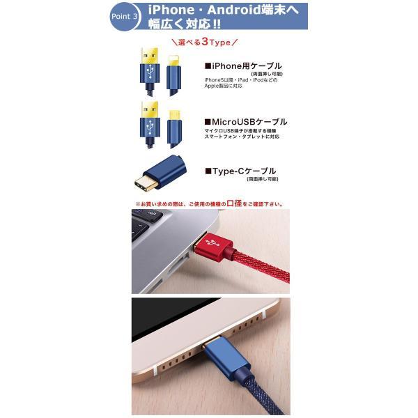 充電器 ケーブル 急速充電 ポイント消化 iPhone Type-C MicroUSB Android 丈夫 保護 デニム かっこいい 1.2m 1.8m|lanui|06