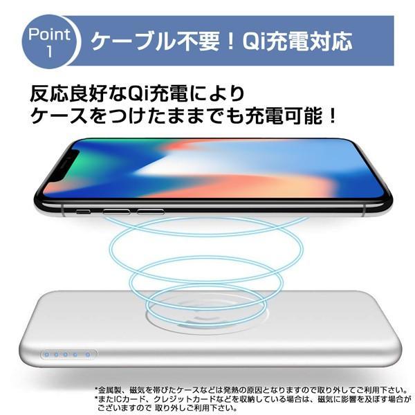 モバイルバッテリー 大容量 薄型 急速充電 ワイヤレス Qi充電 iPhone android PSE 保証 lanui 02