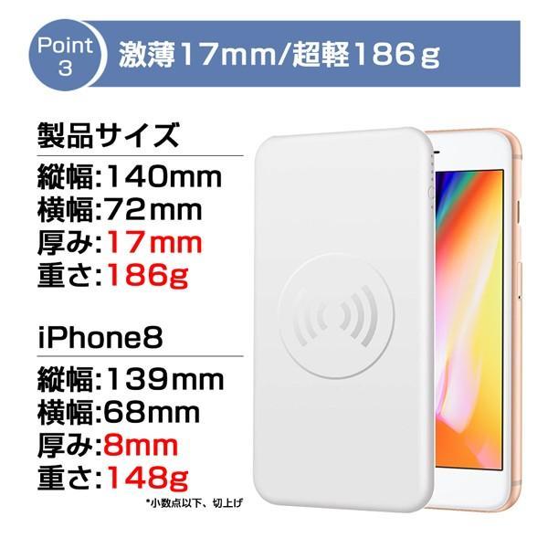 モバイルバッテリー 大容量 薄型 急速充電 ワイヤレス Qi充電 iPhone android PSE 保証 lanui 04