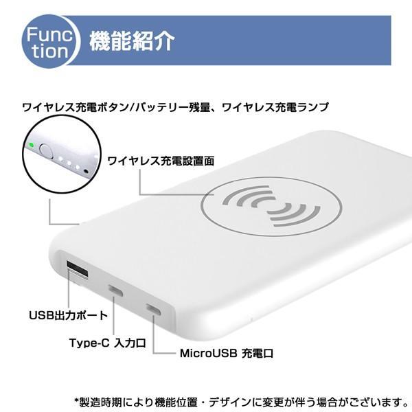 モバイルバッテリー 大容量 薄型 急速充電 ワイヤレス Qi充電 iPhone android PSE 保証 lanui 07