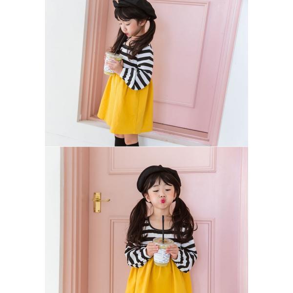 韓国子供服 女の子 通販 ワンピース 長袖 Aライン ボーダー バイカラー おしゃれ キッズ 可愛い 子ども服 お出かけ 30代 ママ 春 夏 ファッション|lany-days|04