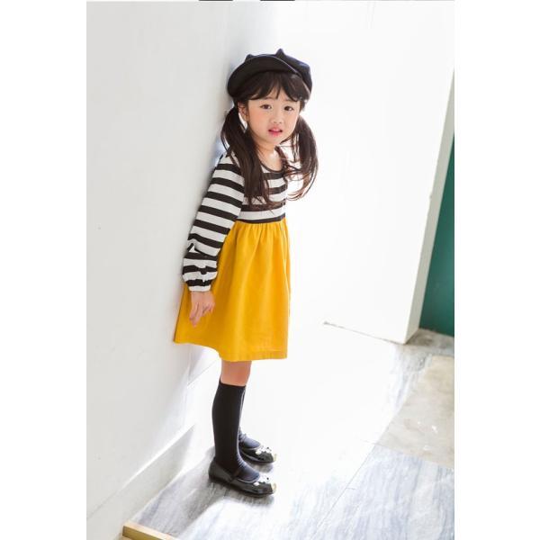 韓国子供服 女の子 通販 ワンピース 長袖 Aライン ボーダー バイカラー おしゃれ キッズ 可愛い 子ども服 お出かけ 30代 ママ 春 夏 ファッション|lany-days|07