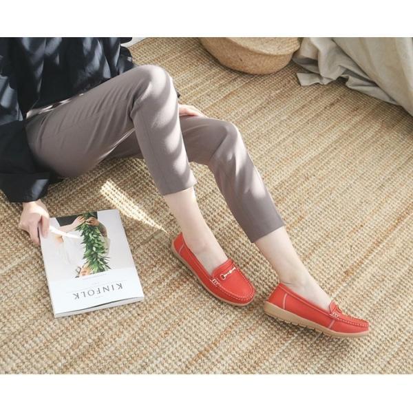 フラットシューズ レディース 本革 レザー ペタンコ 春 ファッション 靴 婦人靴 黒 赤