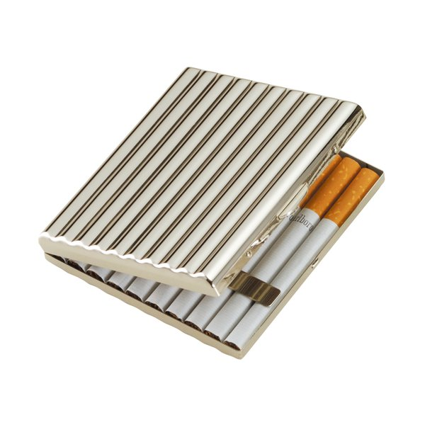 シガレット(たばこ)ケース・喫煙具 メタルケース カジュアルウェーブニッケル(85mm) 20本入り