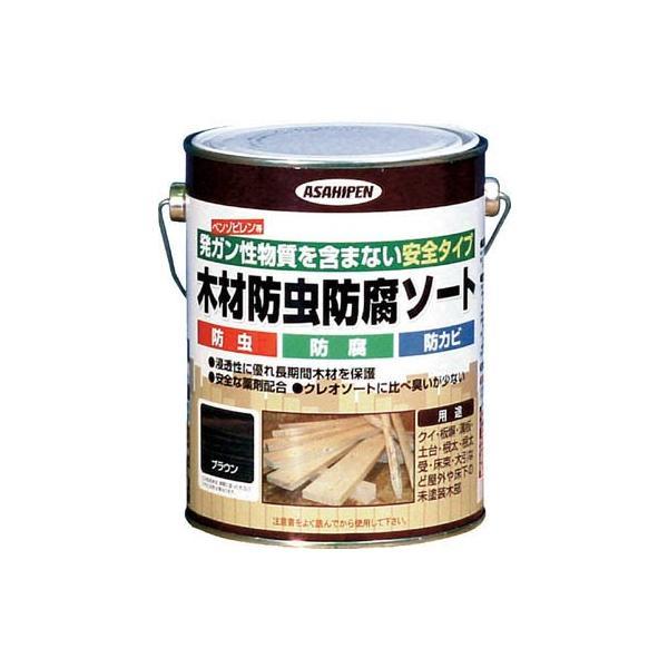 アサヒペン 木材防虫防腐ソート1L ブラウン 530905