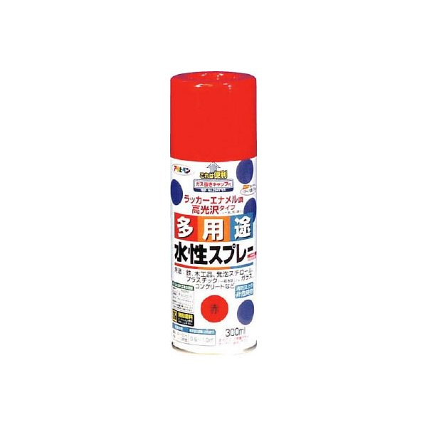 アサヒペン 水性多用途スプレー300ML 赤 565068