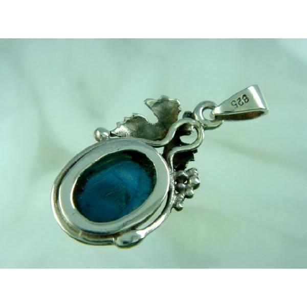 シルバー925 大粒の石がまるでフルーツのような青い石付きペンダントトップ  silver925 シルバーアクセサリー シルバー製 ペンダントヘッド メンズ|laplateriashu|04