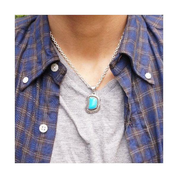 シルバー925 いびつな形がかわいらしい青い石付きペンダントトップ  silver925 シルバーアクセサリー シルバー製 ペンダントヘッド メンズ|laplateriashu|06