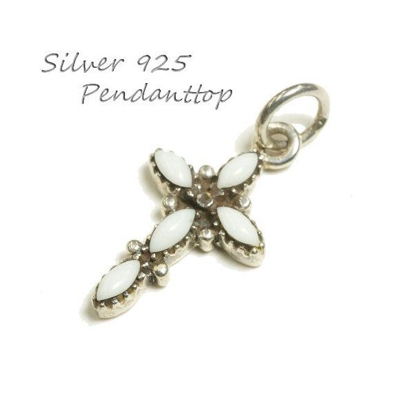 シルバー925 クロスをモチーフにした白い石付きペンダントトップ  silver925 シルバーアクセサリー シルバー製 ペンダントヘッド メンズ|laplateriashu