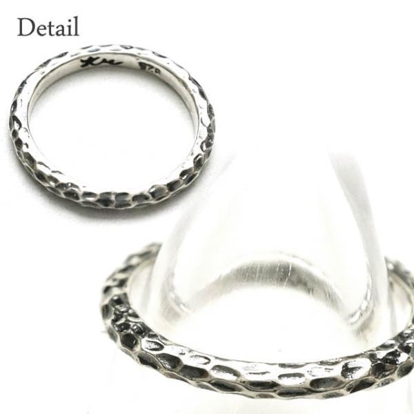 シルバー925 メンズ レディース リング シンプル 表面の凹凸が独特な細身の指輪|laplateriashu|02