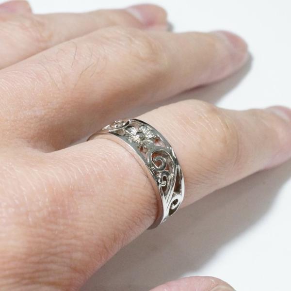 シルバー925 メンズ レディース リング 花 フラワー ハイビスカスモチーフの指輪