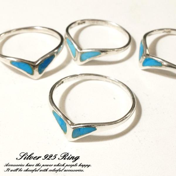 シルバー925 メンズ レディース 指輪 トルコ石 シンプルデザインリング