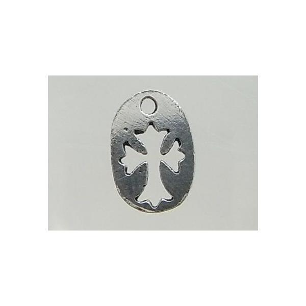 クロスパーツ8-096 2個で1セット 横幅6.68mm×高さ10.26mm シルバー925製 十字架