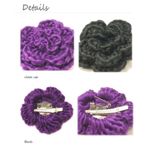 柔らかい毛糸素材のお花のブローチ|laplateriashu|03