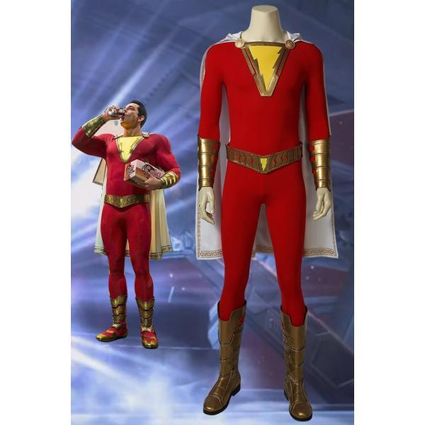 キャプテン・マーベル シャザム Shazam Captain Marvel Billy Batson コスプレ衣装+靴