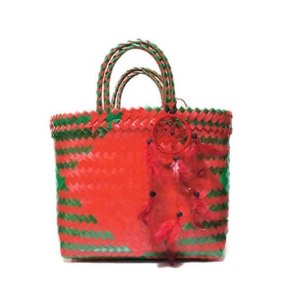 プラカゴバック S/green-red ショッピングバック カゴバック ピクニックバック ママバック リゾートバック バリ島 ハンドメイド おしゃれ|lati-lati