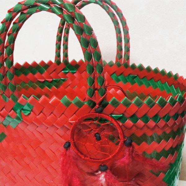 プラカゴバック S/green-red ショッピングバック カゴバック ピクニックバック ママバック リゾートバック バリ島 ハンドメイド おしゃれ|lati-lati|02