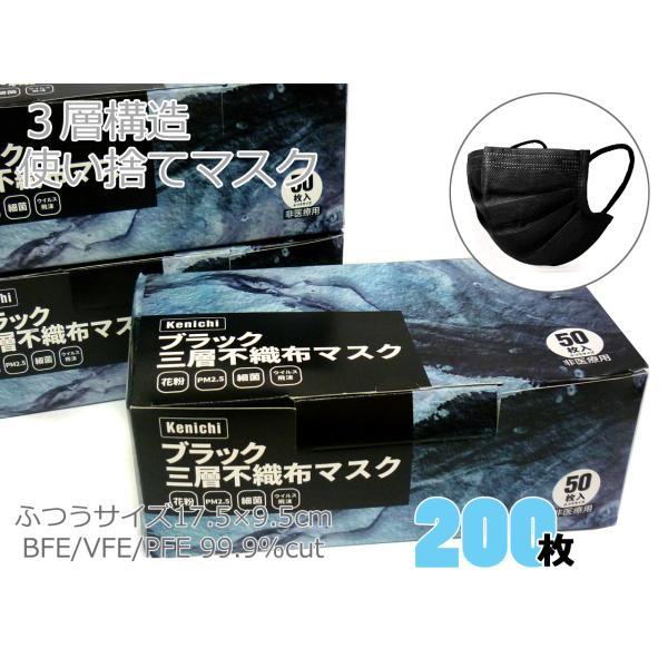 送料無料 200枚 黒 使い捨てマスク 3層構造 99%カットフィルター 不織布マスク 4mm幅広ゴム 17.5×9.5cm 特価